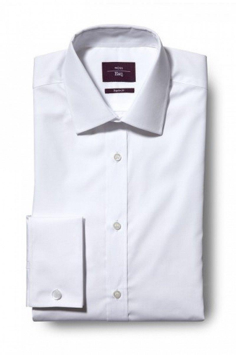 SALE, 15% OFF SHIRTS - Moss Esq. Regular Fit White Double Cuff Non Iron Shirt!