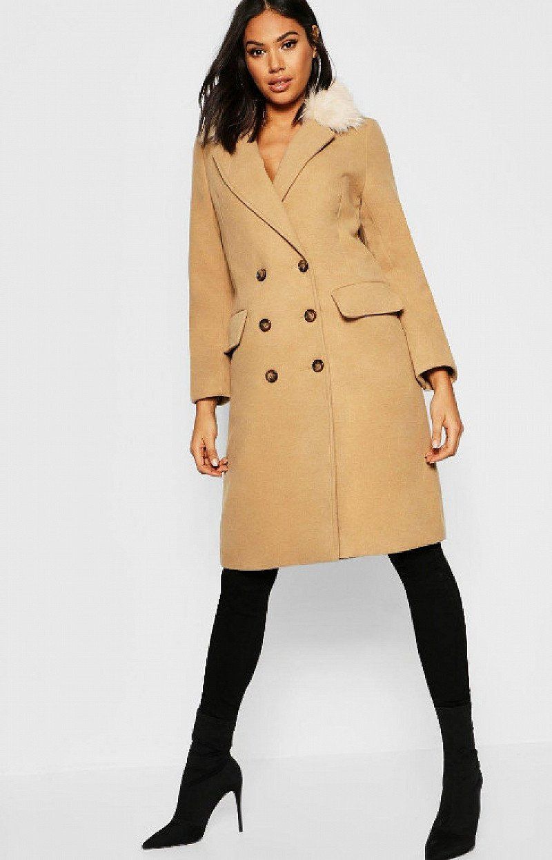 SALE, UP TO 50% OFF WOMENS CLOTHING - Tall Faux Fur Collar Double Breasted Wool Look Coat!