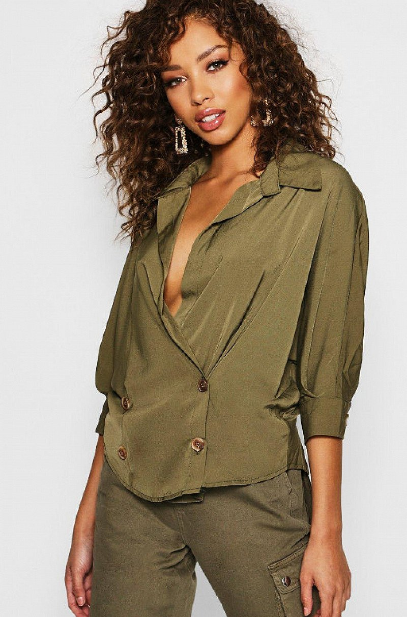 UP TO 50% OFF WOMEN'S CLOTHING - Double Breasted Wrap Shirt!