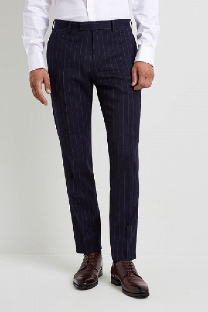SALE, SAVE £40.00 ON SUIT WEAR - Moss 1851 Tailored Fit Blue Chalk Stripe Trouser!