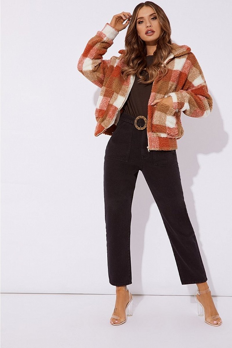 SALE, SAVE ON WOMEN'S WINTER CLOTHING - KAELIA RUST CHECKED TEDDY FUR BOMBER JACKET!