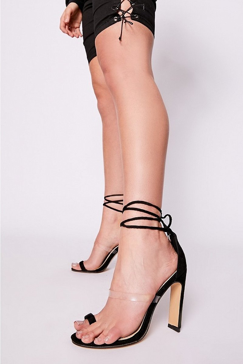SALE - REHANNA BLACK FAUX SUEDE TOE & CLEAR STRAP HEELS!