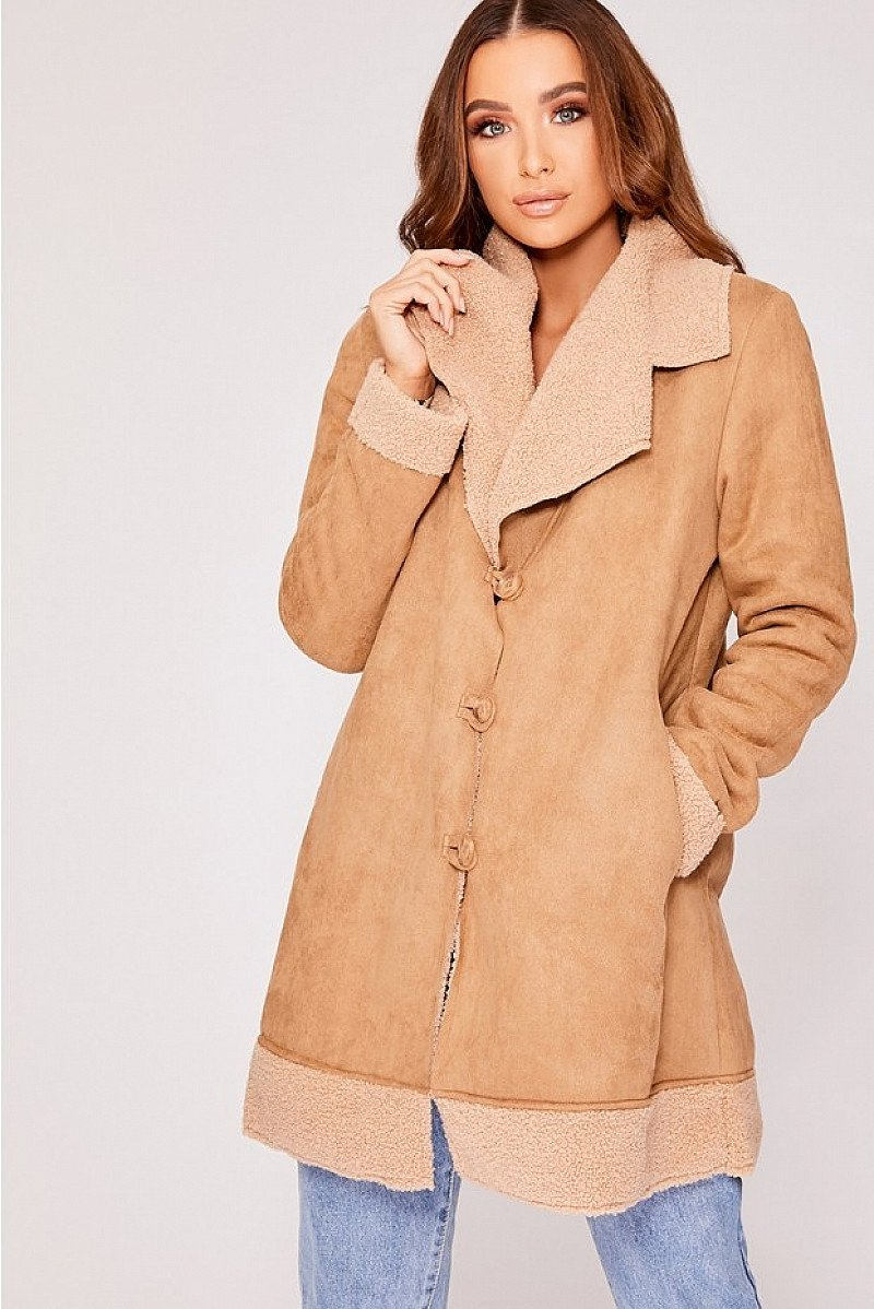 SALE - DENISE CAMEL FAUX SUEDE BORG LINED JACKET!