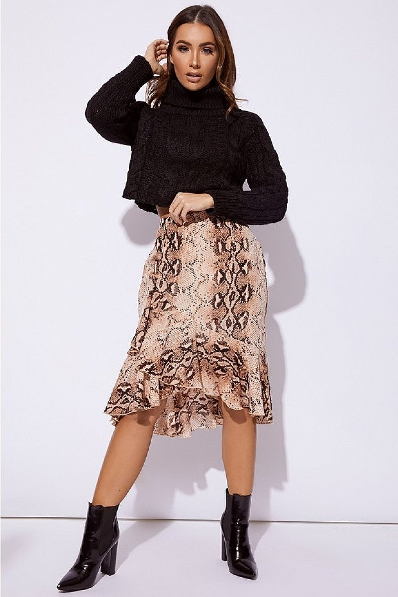 SALE - BILLIE FAIERS NUDE SNAKE PRINT WRAP MIDI SKIRT!