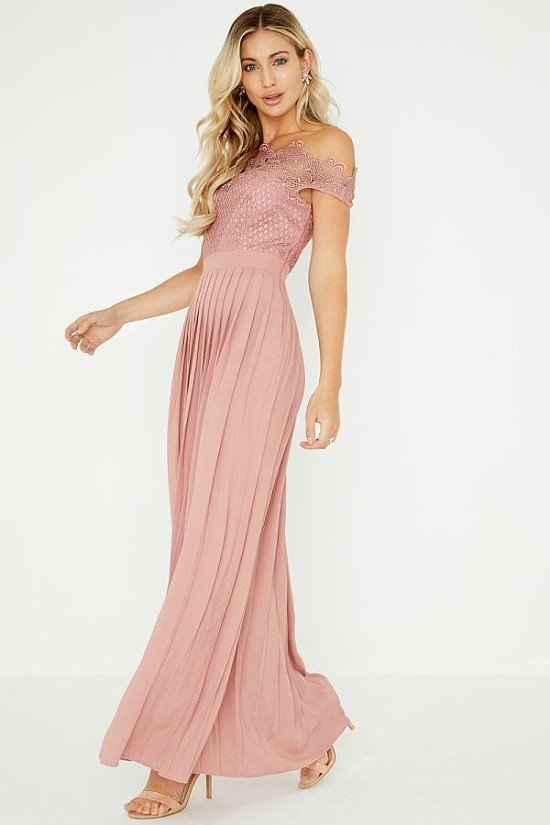 GET 25% OFF WEDDING WEAR - LITTLE MISTRESS GABY APRICOT LACE BARDOT MAXI DRESS!