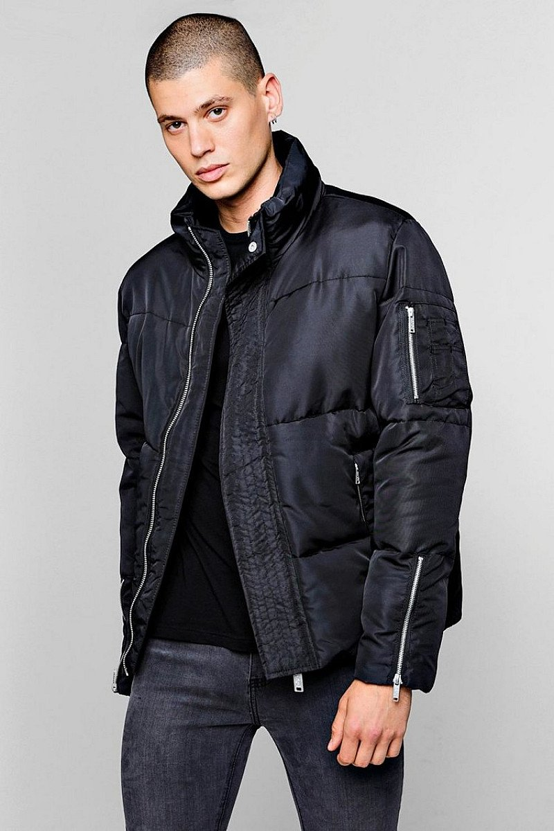 Sale, Get Up To 63% Off - FUNNEL NECK ZIP DETAIL PUFFER JACKET!