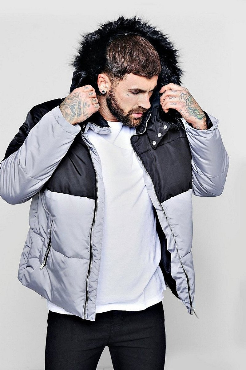 Sale, Get Up To 56% Off - COLOUR BLOCK PUFFER WITH FAUX FUR TRIM HOOD!