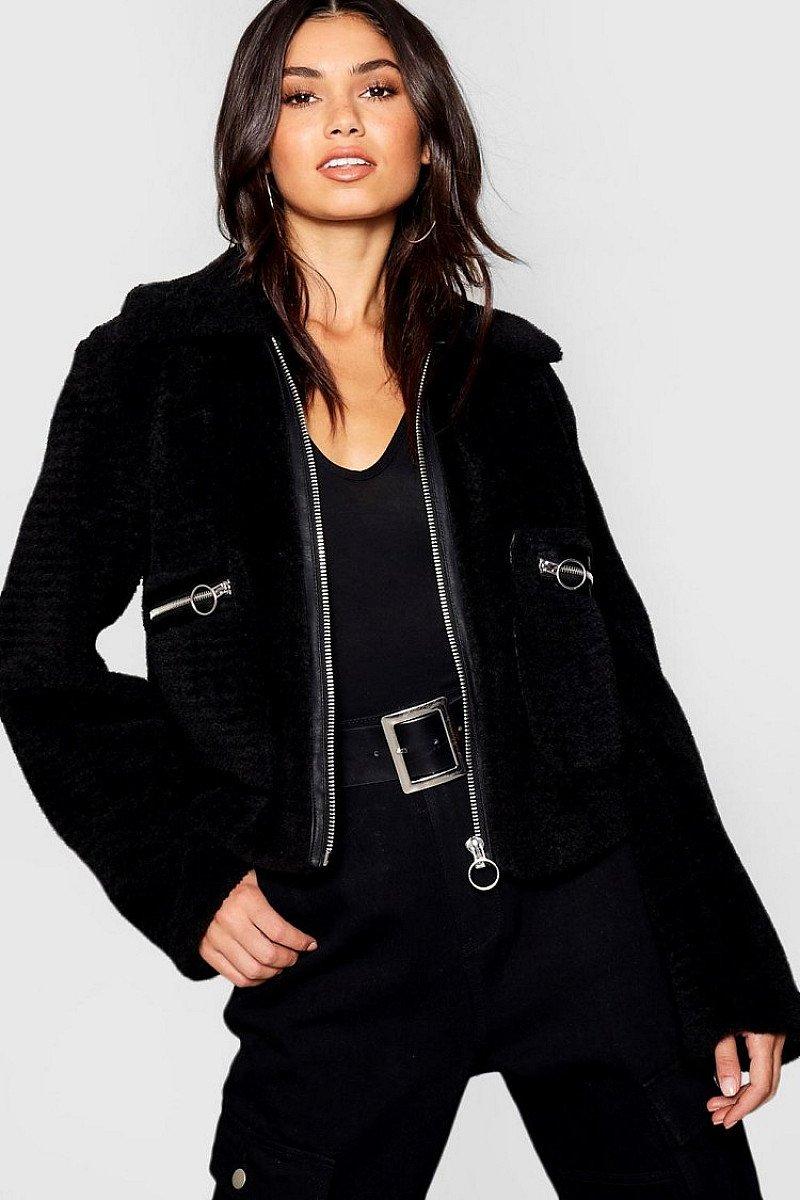 SALE, GET 58% OFF - Teddy Faux Fur Trucker Coat!