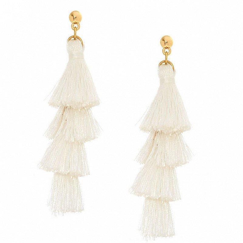 SALE - White Tiered Tassel Drop Earrings!
