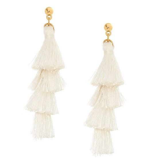 SALE - White Tiered Tassel Drop Earrings!
