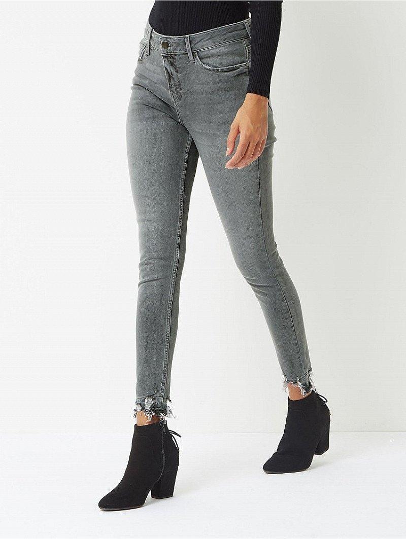 WOMENS SALE - Grey Denim Distressed Hem Skinny Jeans!