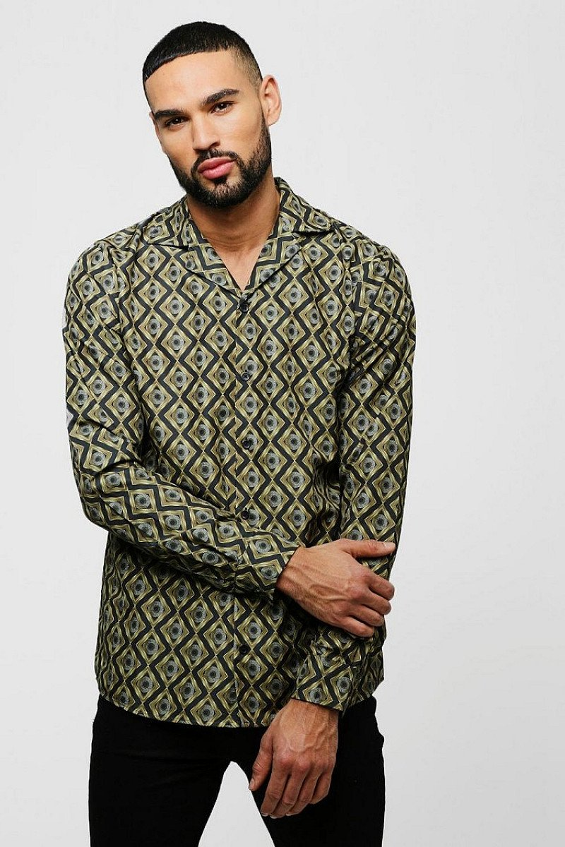 MEN'S SALE - BAROQUE PRINT LONG SLEEVE REVERE SHIRT!