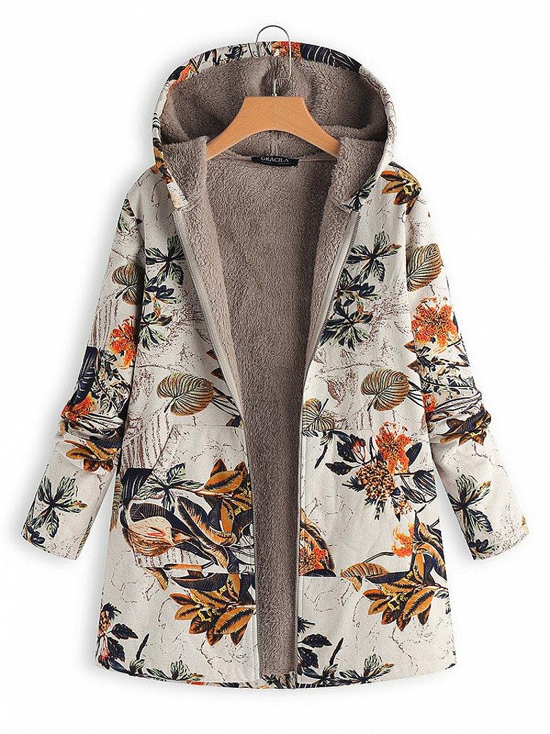 SALE, SAVE 73% - Leaves Floral Print Hooded Long Sleeve Vintage Coats!