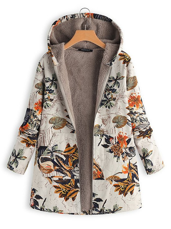 SALE, SAVE 73% - Leaves Floral Print Hooded Long Sleeve Vintage Coats!