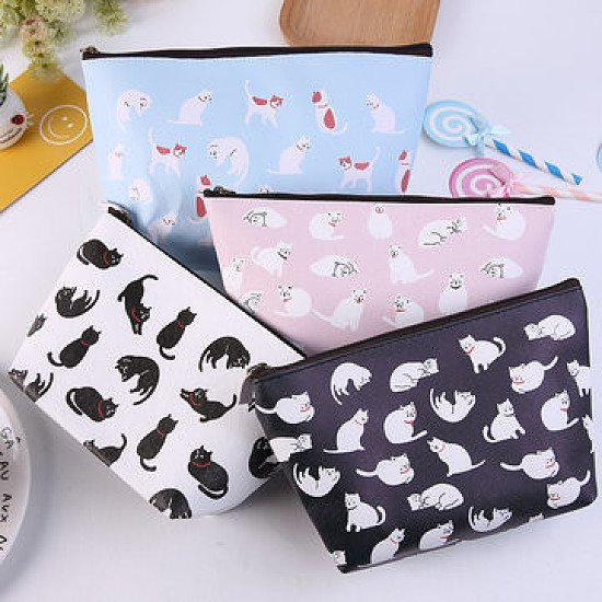 SALE, SAVE 82% - SaicleHome  Kawaii Kitten Print Cosmetic Bag Multi-function Travel Storage Bag!