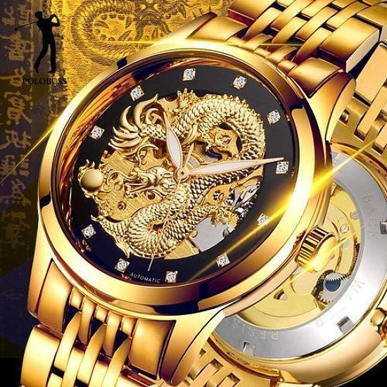SALE - POLOBOSS Mens Dragon Mechanical Watches Engraved Skeleton Dragon!