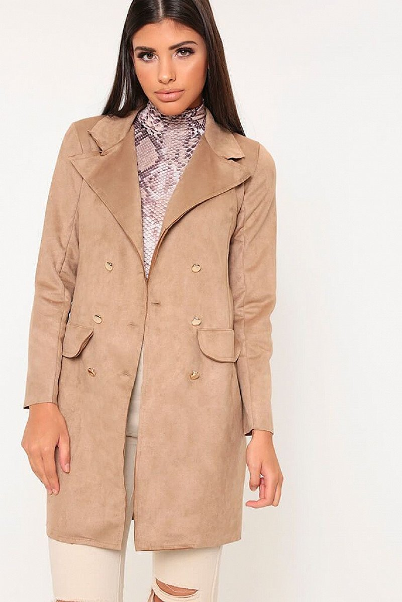SALE, SAVE 70% - Nude Double Breasted Suedette Blazer Dress!