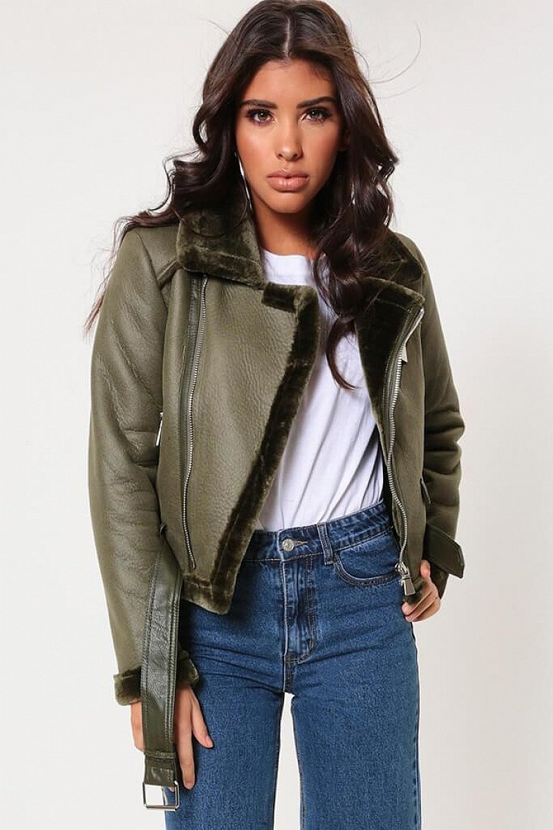 SALE - Khaki Cropped Faux Fur Lined Soft Aviator Jacket!