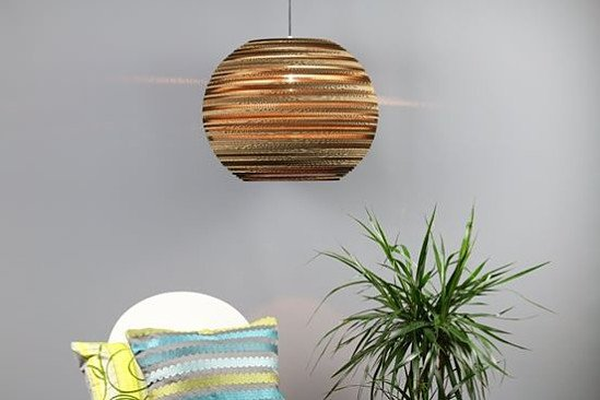 """Large sphere lampshade (20"""") made from recycled cardboard: £225.00!"""