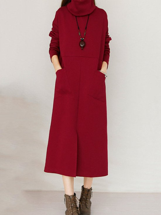 SAVE- Front Split Pure Color Long Sleeve Pocket Casual Maxi Dresses