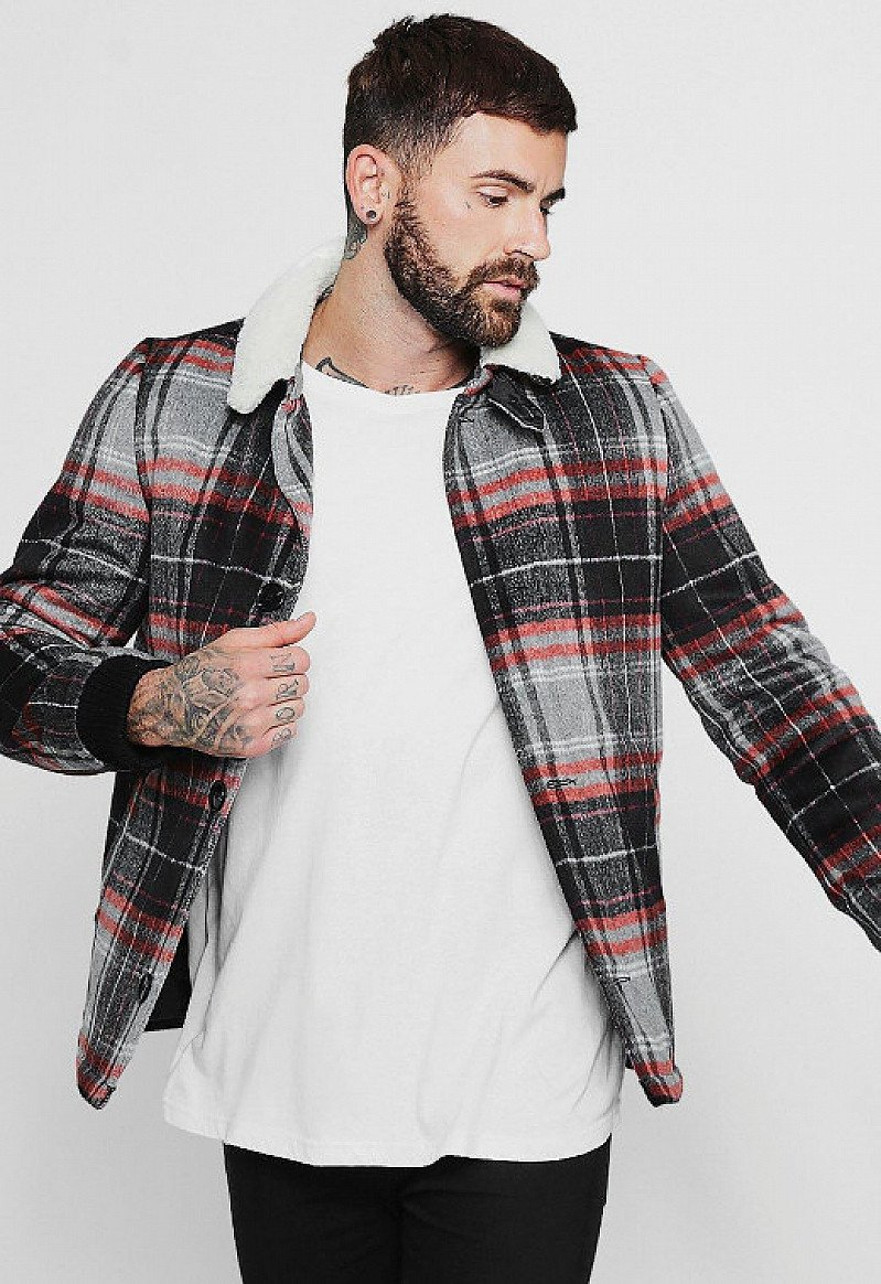 SAVE 50%- Wool Blend Check Trucker With Borg Collar