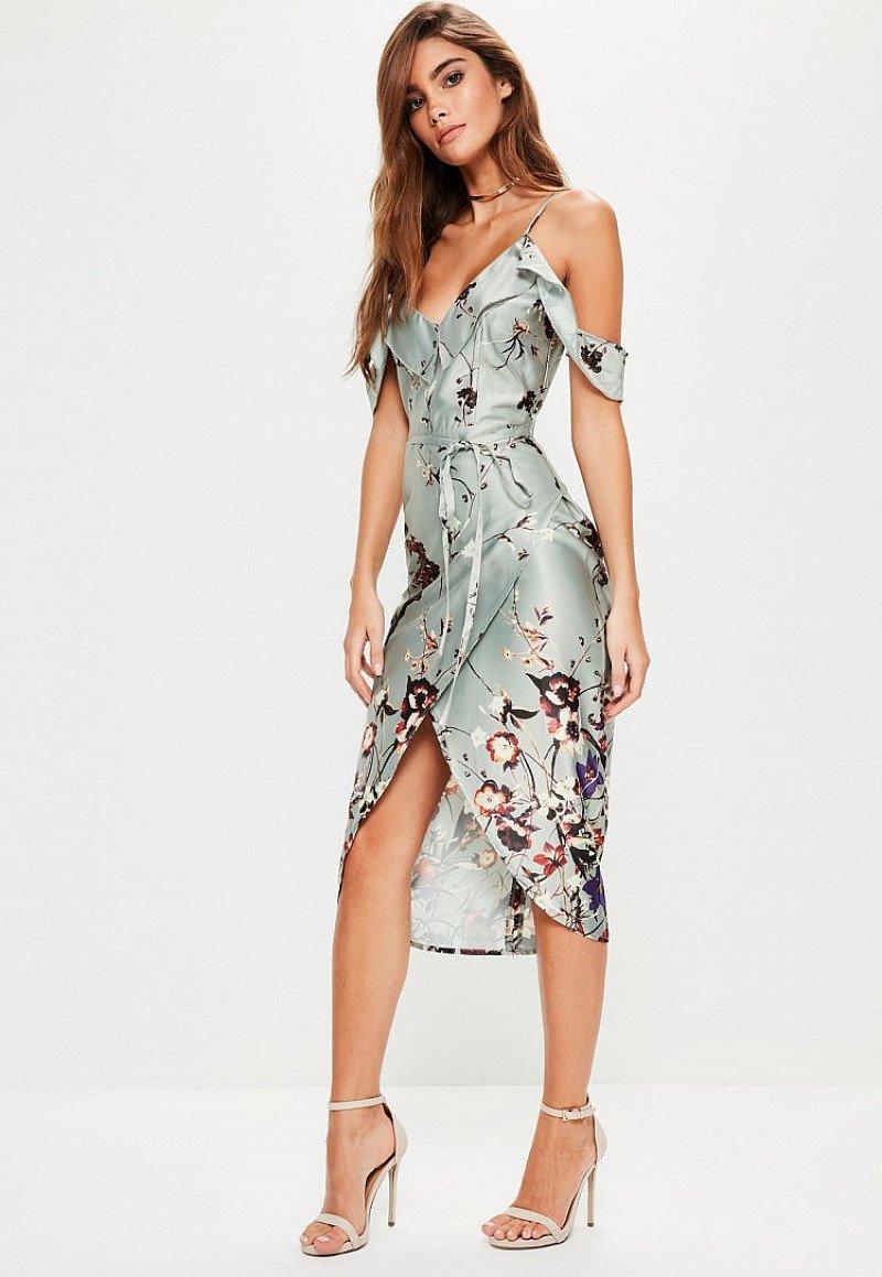 SAVE- Grey Frill Floral Midi Dress
