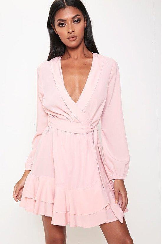 SALE, SAVE 50% - Pink Wrap Tea Dress!