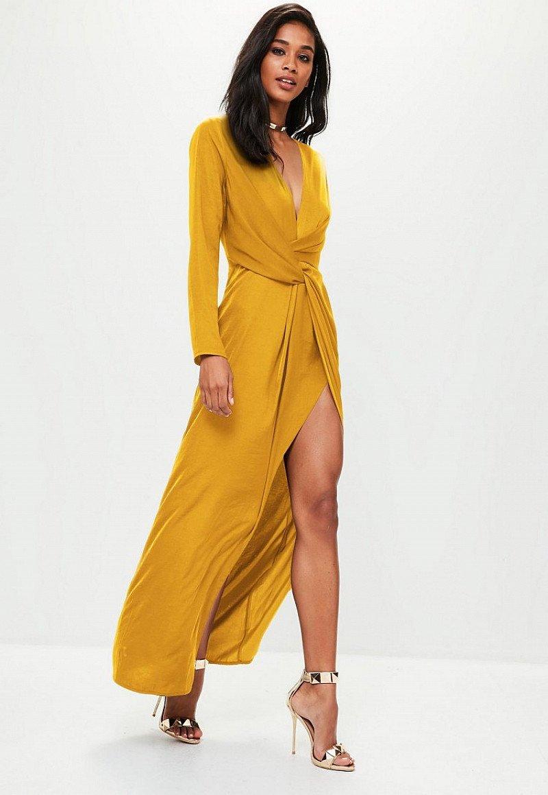 SALE - mustard yellow wrap front maxi dress!