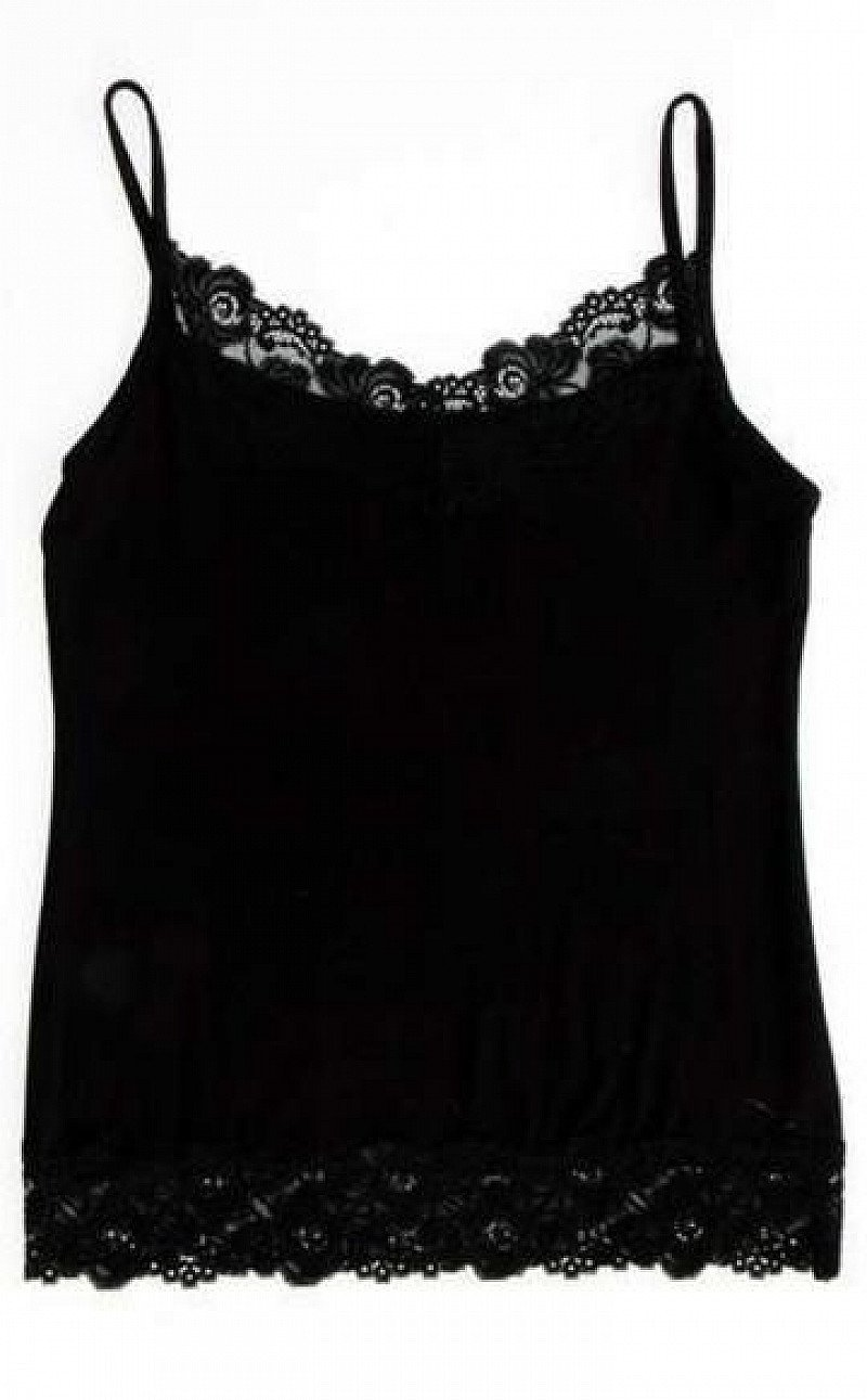 V NECK CAMI TOP WITH LACE DETAIL
