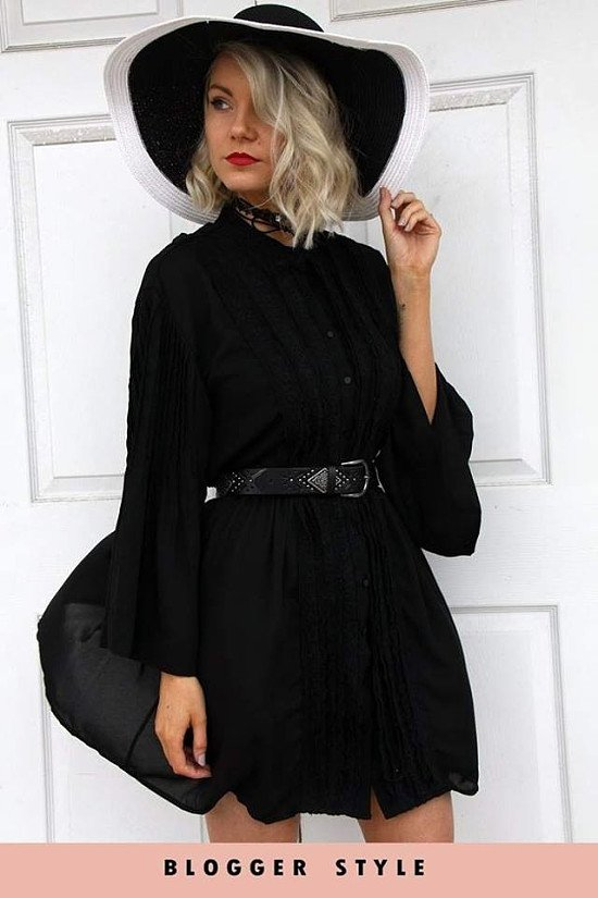 BLACK LACE UP SHIRT SWING DRESS WITH LACE AND PLEATED BELL SLEEVES