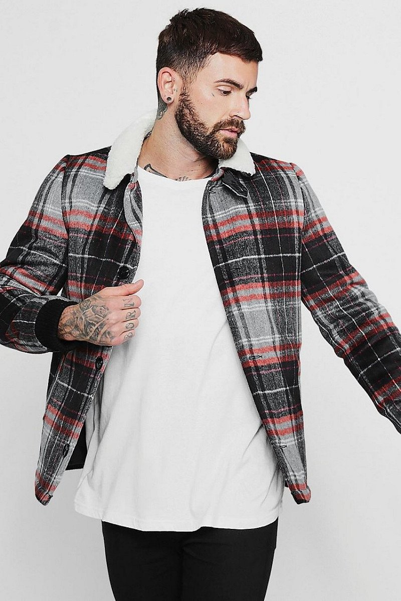 SALE - WOOL BLEND CHECK TRUCKER WITH BORG COLLAR!