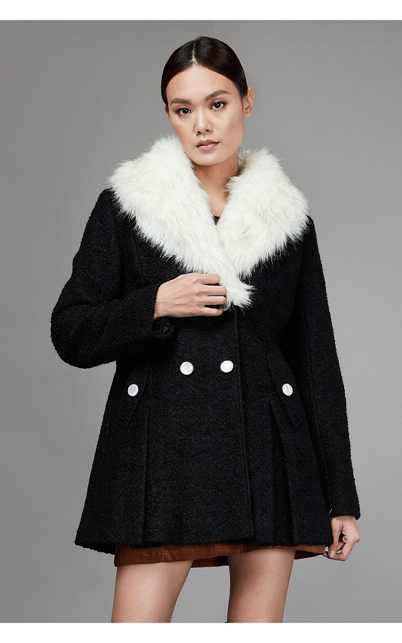 SALE - BLACK DOUBLE BREASTED BOUCLE FORMAL COAT!