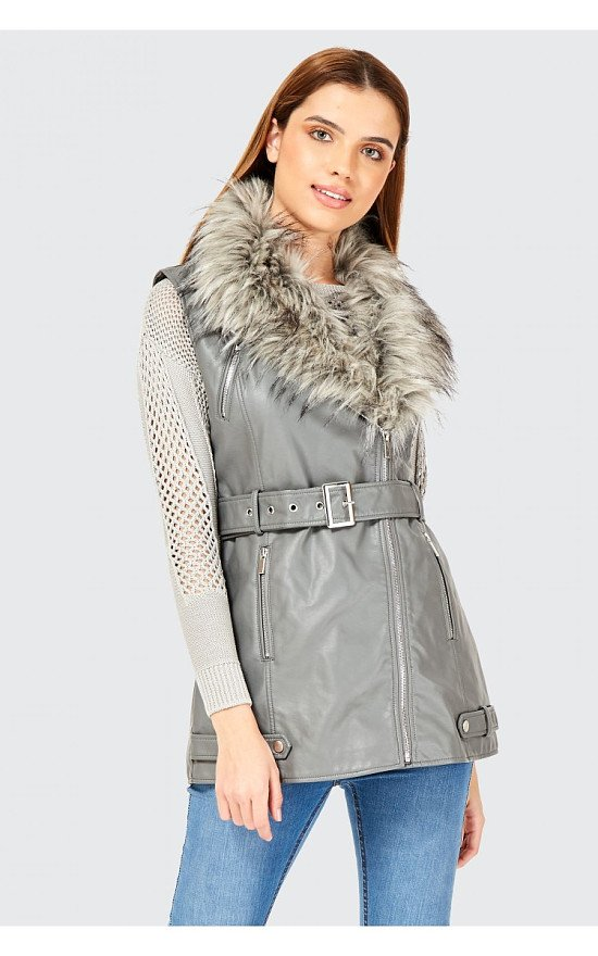 SALE - FAUX LEATHER FAUX FUR COLLAR SLEEVELESS JACKET!