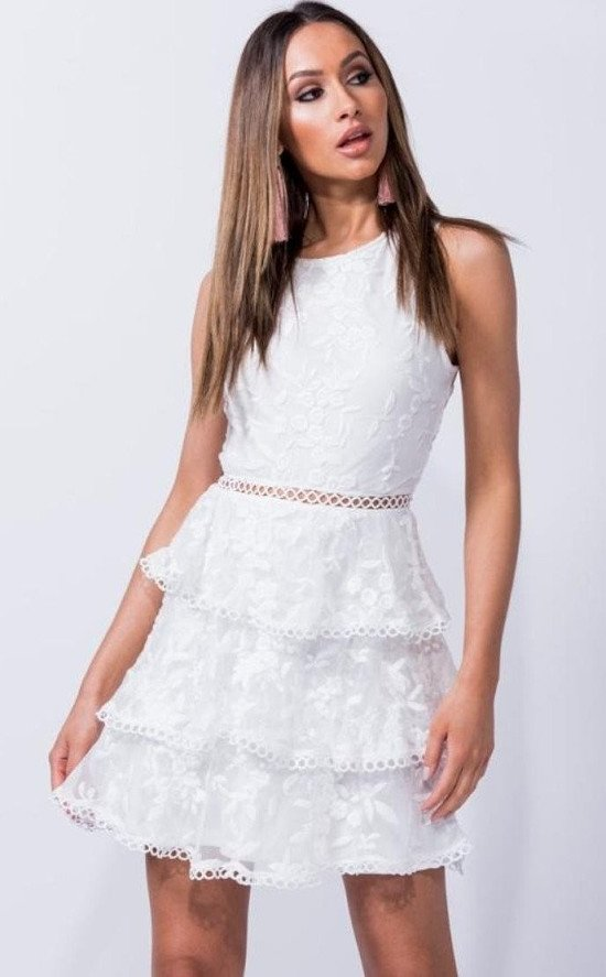 White lace tiered shift dress