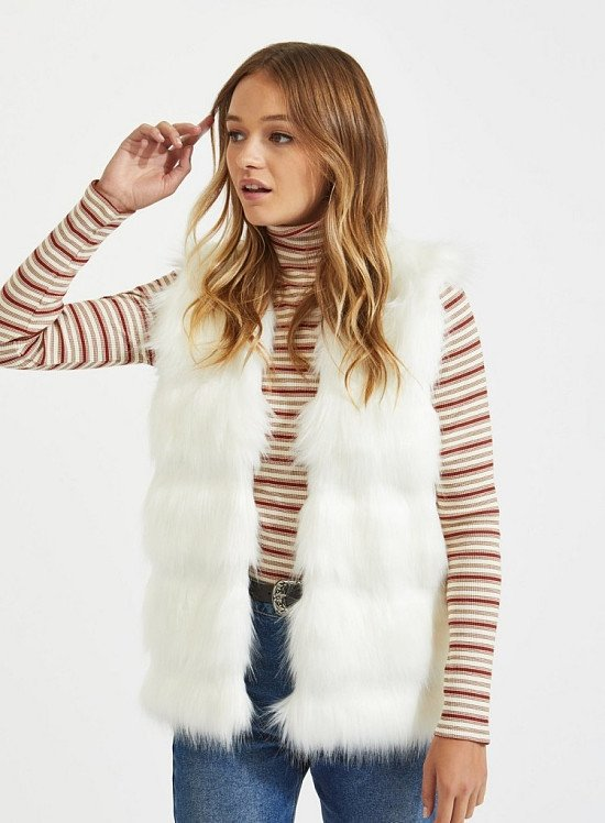 SALE - Cream Faux Fur Knitted Gilet!