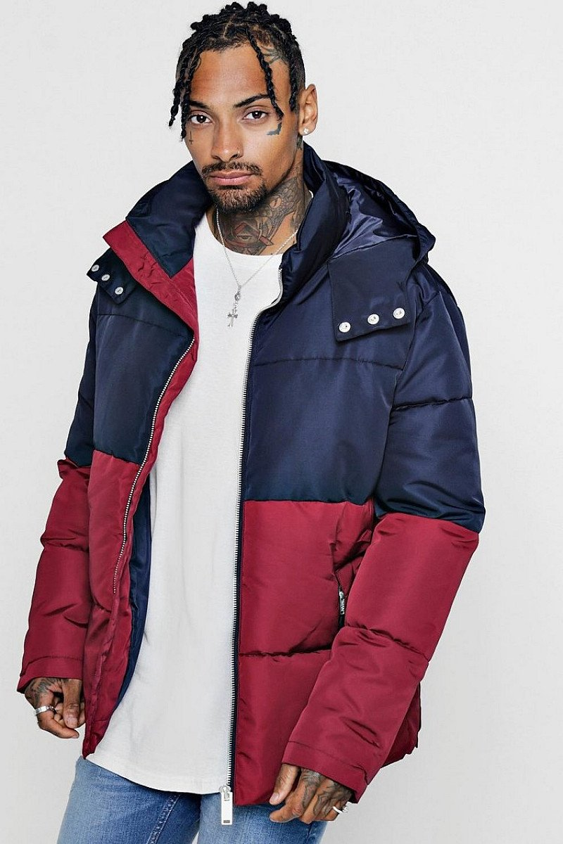 SALE - Colour Block Puffer With Popper Sides