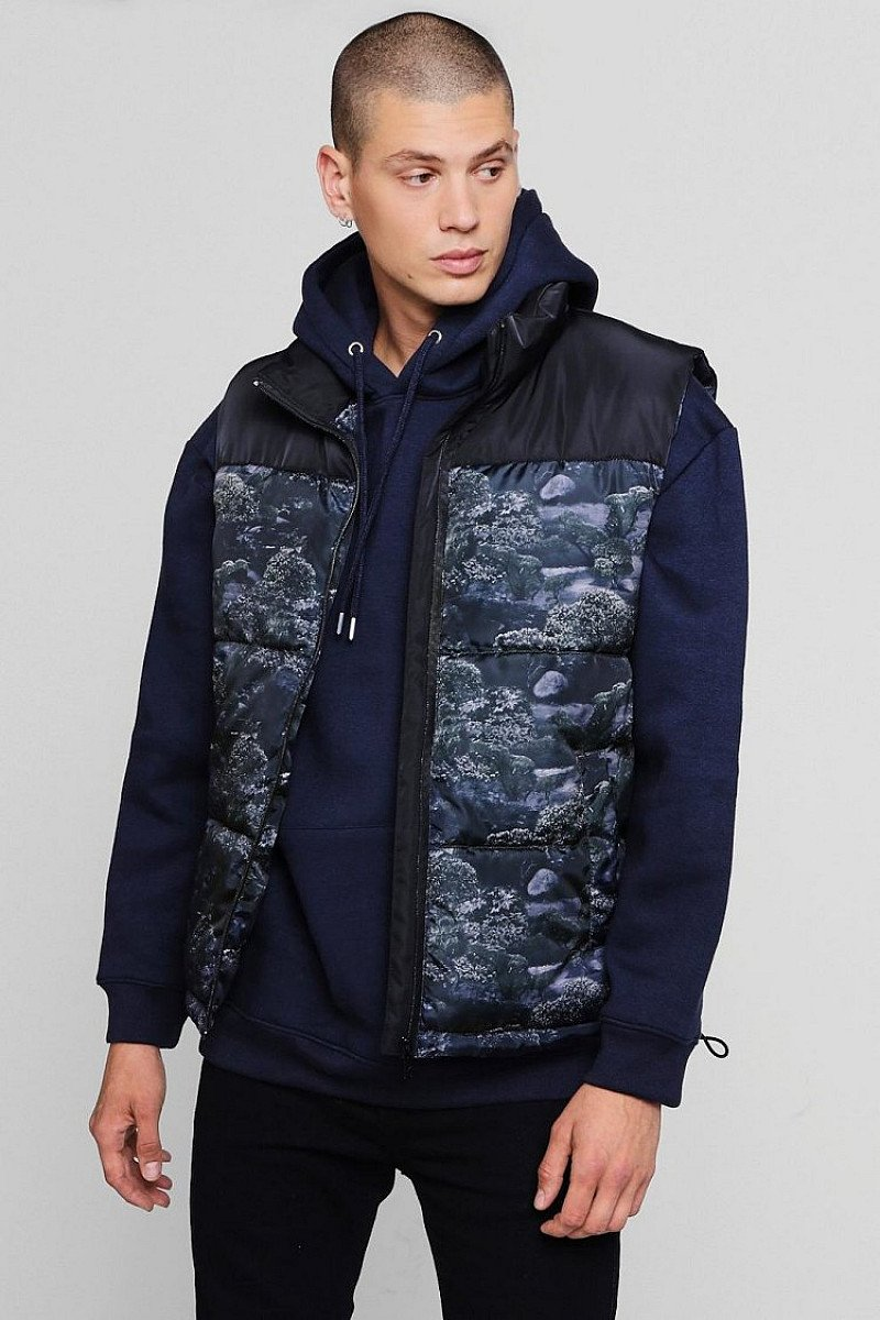 SALE - PRINTED SLEEVELESS PUFFER JACKET!