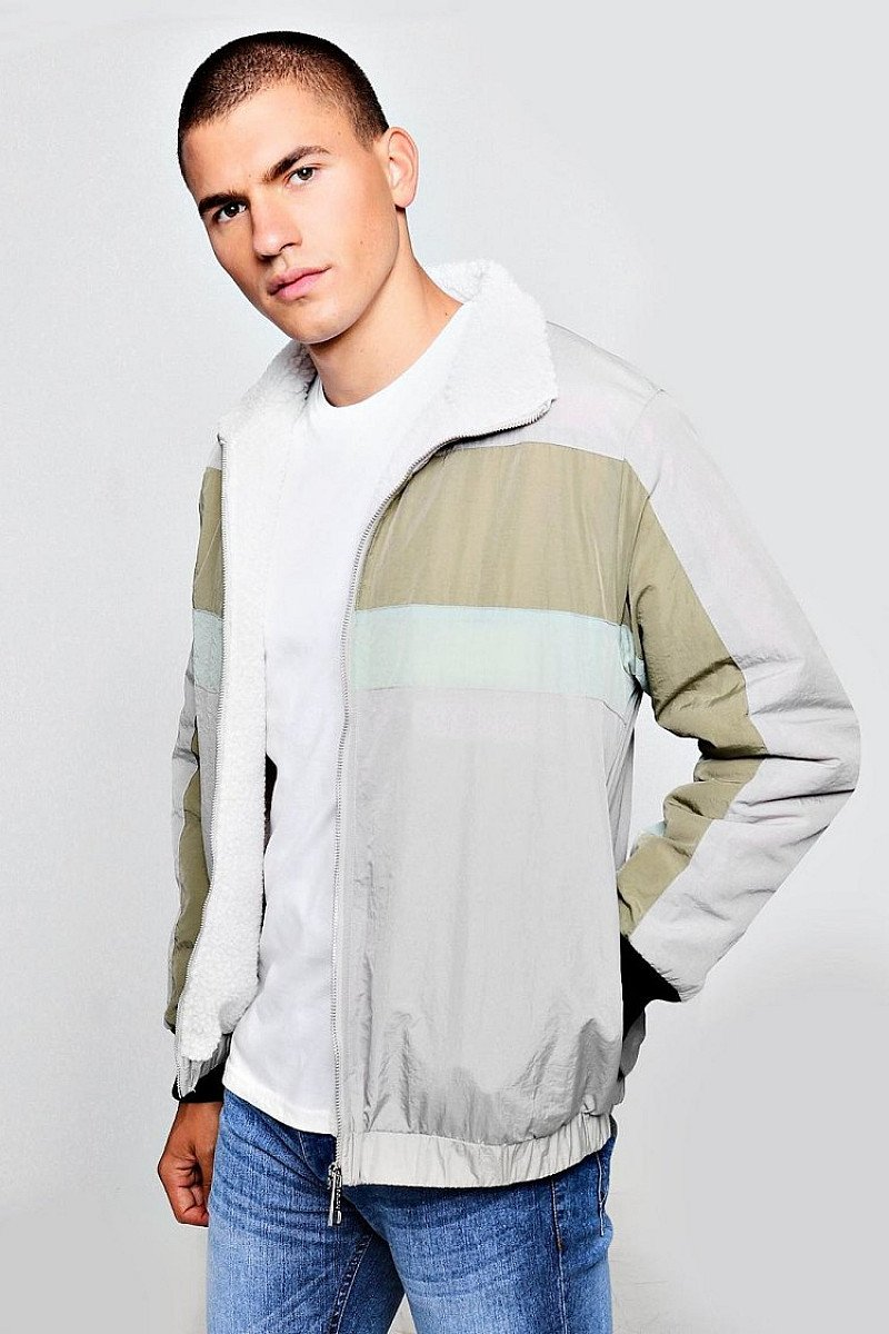 SALE - FULLY BORG LINED COLOUR BLOCK TRACK JACKET!