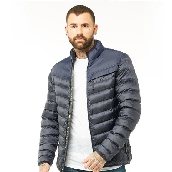 SALE - Crosshatch Mens Chankford Quilted Padded Zip Thru Jacket Night Sky!