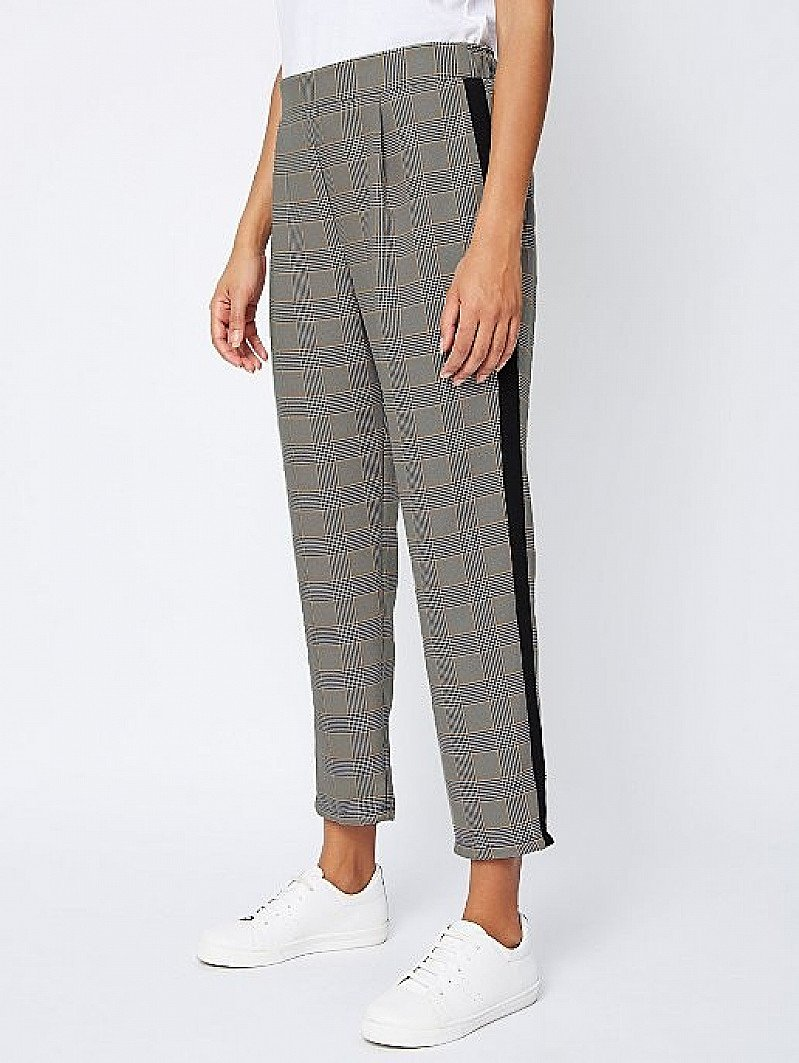 SALE - Check Side Stripe Woven Tapered Trousers!