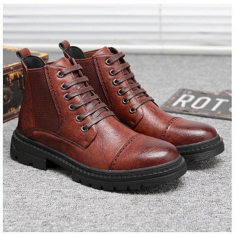 SALE - Men Retro Color Leather Non-slip Elastic Panels Outdoor Casual Boots!