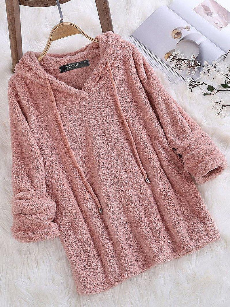 SALE - YCOSIC Fleece Hooded Solid Color Long Sleeve Sweatshirt!