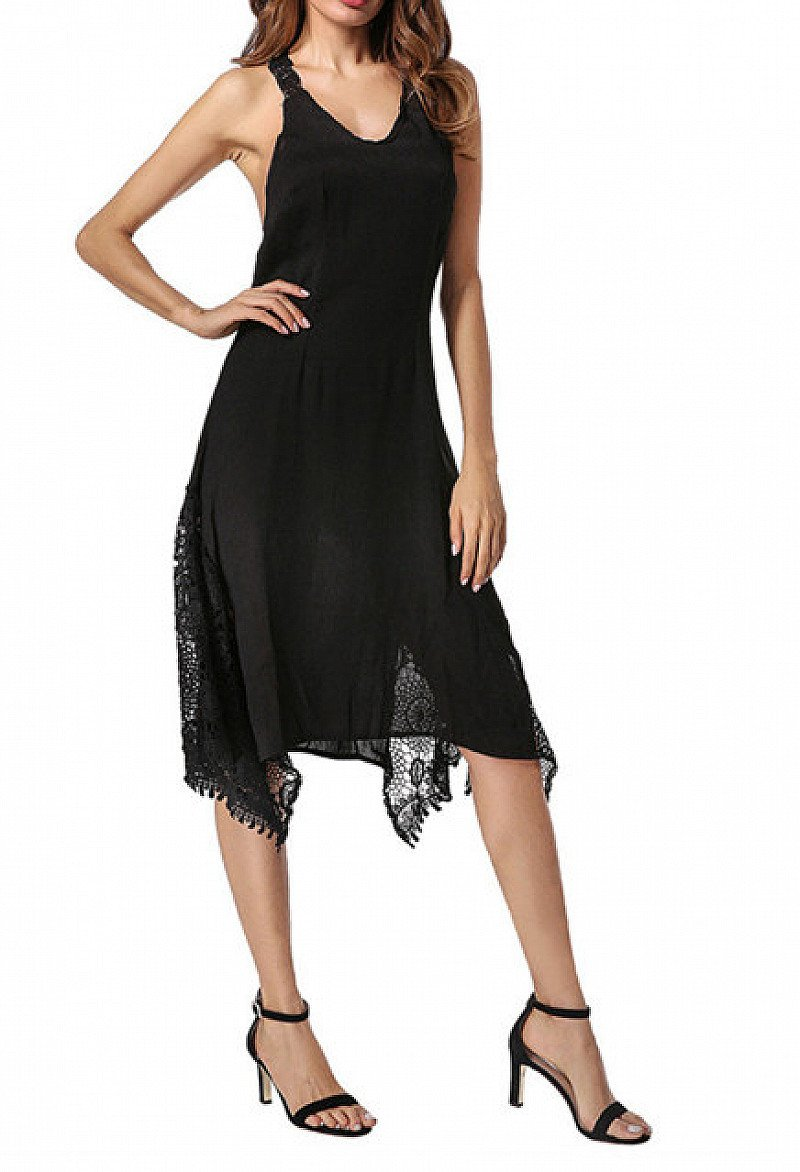 SAVE- Straps Asymmetrical Backless Sexy Lace Dresses
