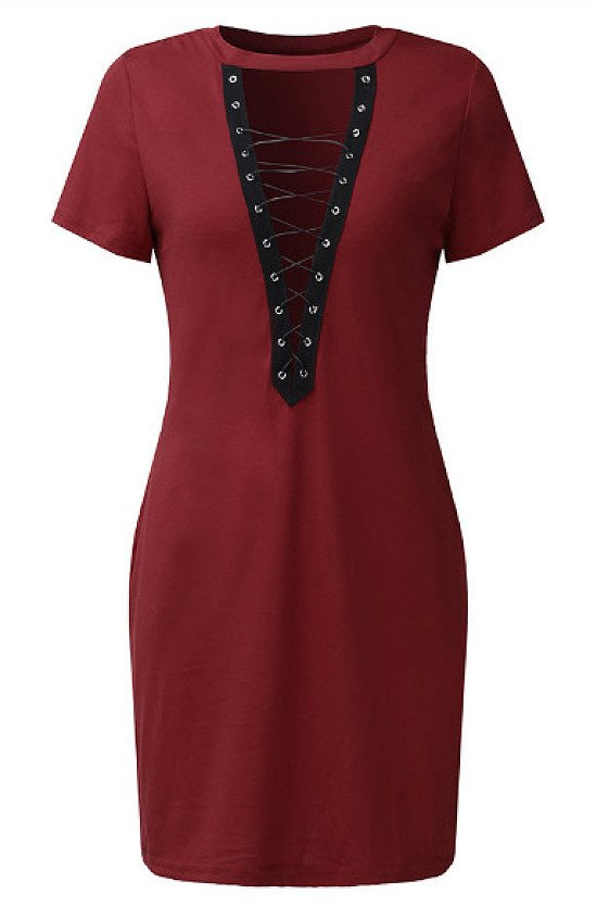 Save- Criss-Cross V-neck Short Sleeve Pencil Sexy Dresses