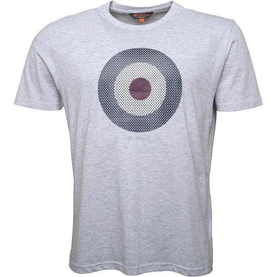 Save- Ben Sherman Mens Check Target T-Shirt Light Grey Marl