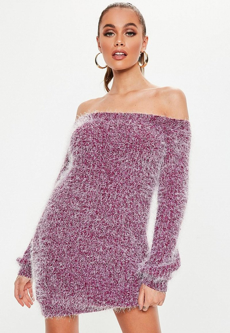 SALE - pink chenille fluffy bardot jumper dress!