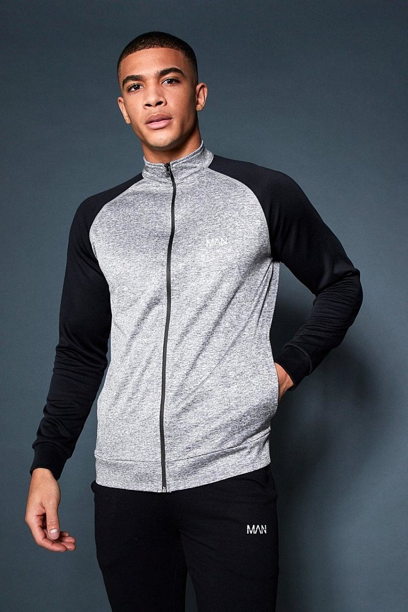 SALE - ACTIVE GYM TRACK TOP WITH CONTRAST SLEEVE