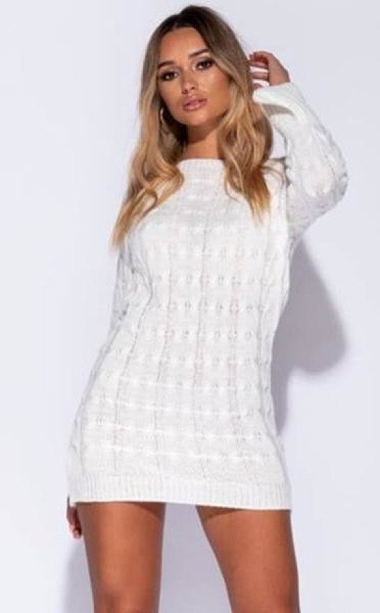 CREAM CABLE KNIT DETAIL FLARE SLEEVE JUMPER DRESS