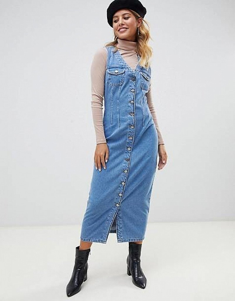 SALE - ASOS DESIGN denim button through sleeveless midi dress!