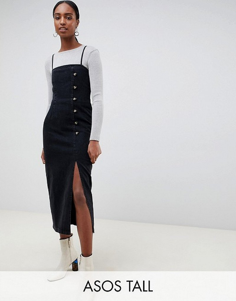SALE - ASOS DESIGN Tall button side midi dress washed black!